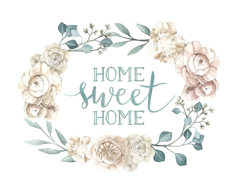 """Flower Wreath """"Home Sweet Home"""" Quote Art Watercolour Illustration by Alicia's Infinity - www.aliciasinfinity.com"""