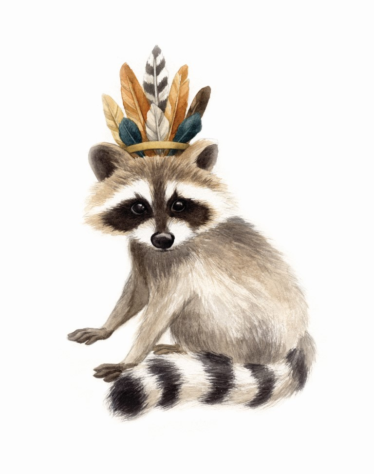 Raccoon with Feather Crown Watercolour Illustration by Alicia's Infinity - www.aliciasinfinity.com