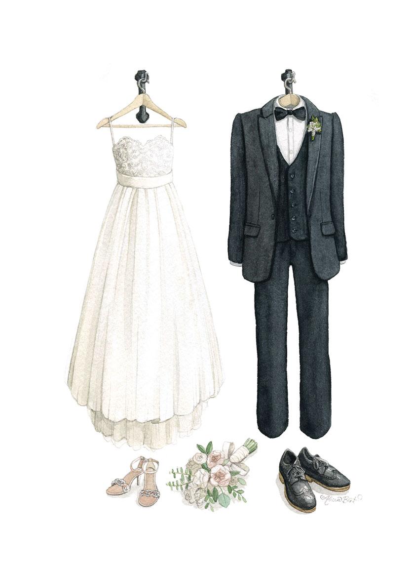 Custom Wedding Fashion Watercolour Illustration by Alicia's Infinity - www.aliciasinfinity.com