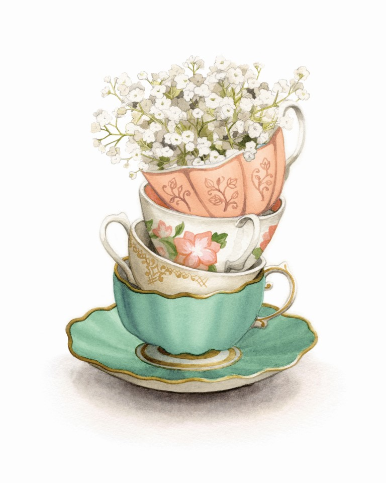 Vintage teacups with baby's breath Watercolour Illustration by Alicia's Infinity - www.aliciasinfinity.com