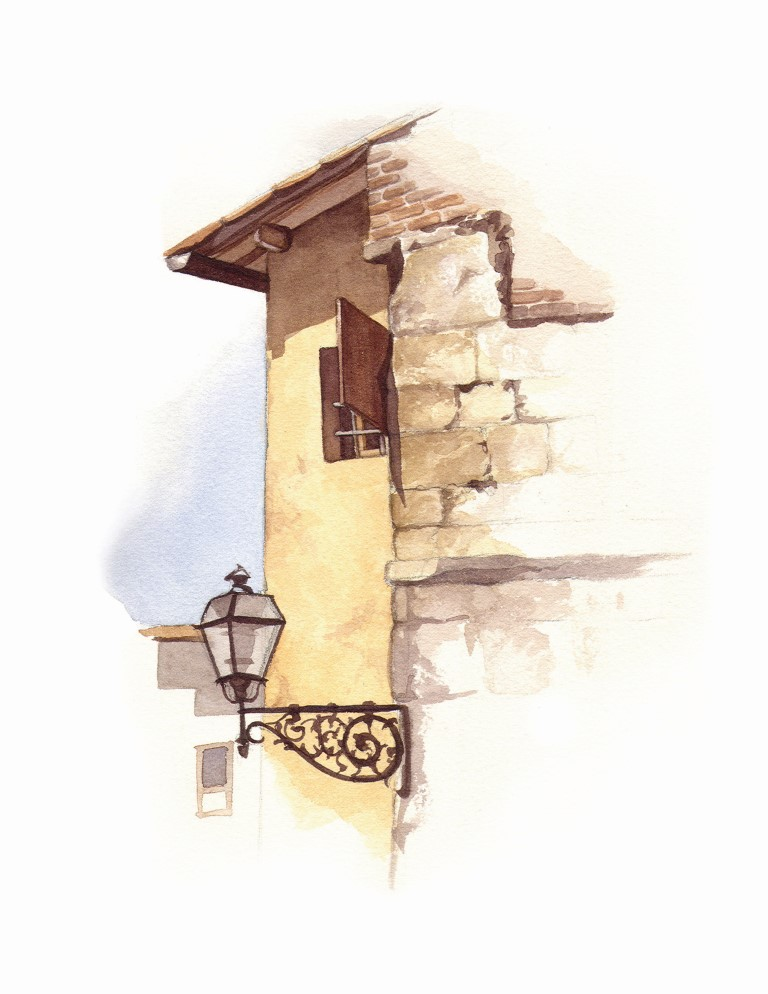 Italy Lampost Watercolour Illustration by Alicia's Infinity - www.aliciasinfinity.com