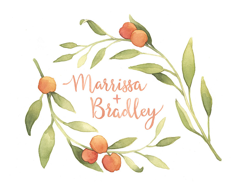 Peach-Custom-Wedding-Invitation-Greenery-Artwork-Marissa&Brandon.jpg