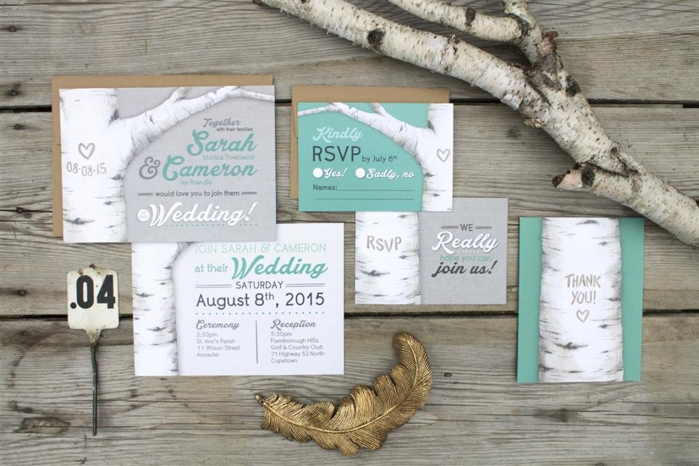 Rustic Birch Tree Watercolour Wedding Invitations and Stationery by Alicia's Infinity - www.aliciasinfinity.com