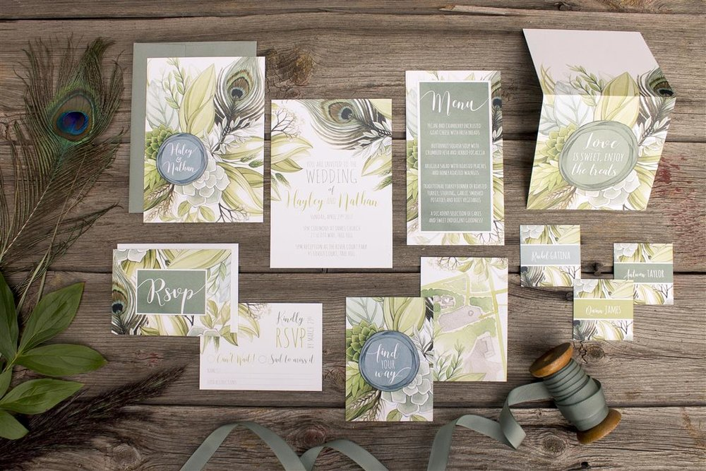 Boho Peacock Feather and Leaves Wedding Invitations by Alicia's Infinity - www.aliciasinfinity.com