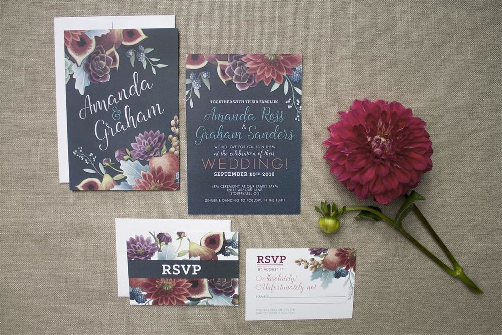 Dark and Moody Wedding with Figs and Dahlia Botanicals - Invitations and Stationery by Alicia's Infinity - www.aliciasinfinity.com