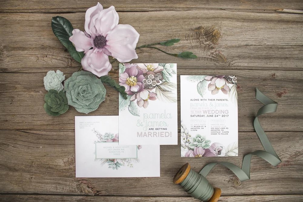 Mauve Peony and Mint Succulent