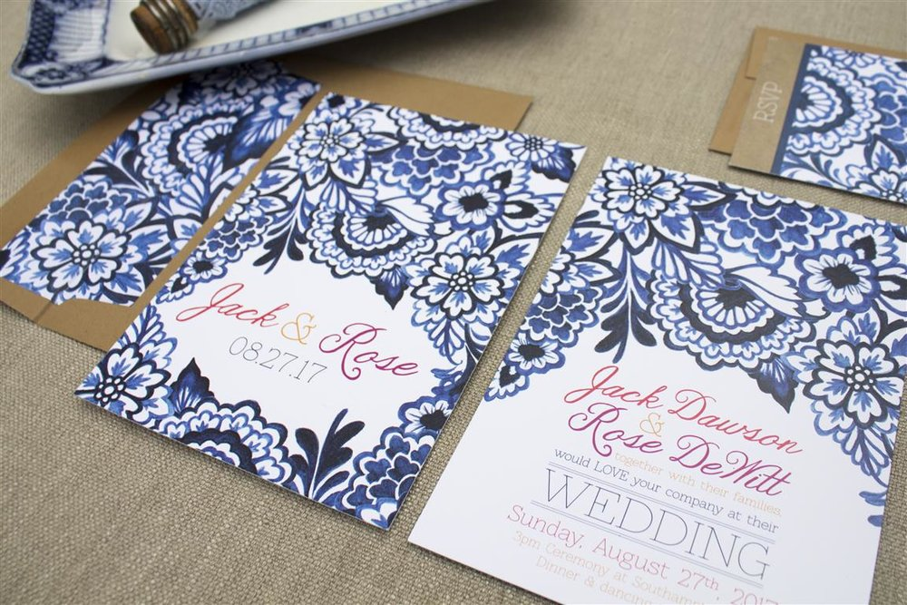 Delft Blue Willow Wedding Invitations and Stationery by Alicia's Infinity - www.aliciasinfinity.com