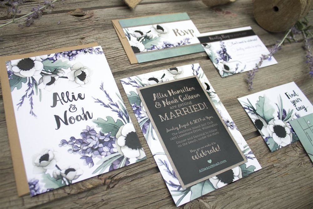 Lilac, Lavender, Poppy & Dusty Miller Watercolour Wedding Invitations and Stationery by Alicia's Infinity - www.aliciasinfinity.com