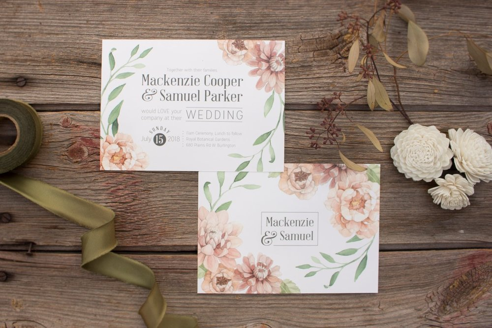Blush Botanical and Vine Watercolour Wedding Invitations and Stationery by Alicia's Infinity - www.aliciasinfinity.com