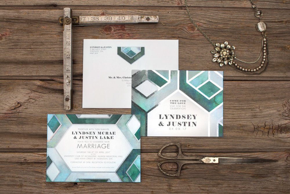 Modern Geometric Patterned Watercolour Wedding Invitations and Stationery by Alicia's Infinity - www.aliciasinfinity.com