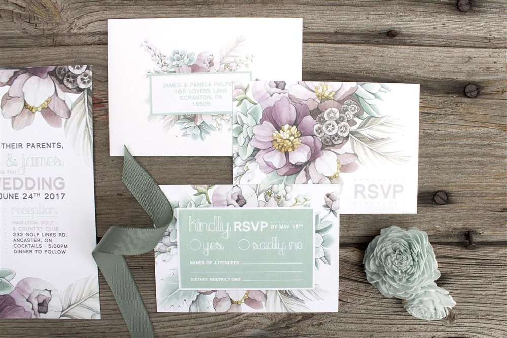 Mauve Peony and Mint Succulent Watercolour Wedding Invitations and Stationery by Alicia's Infinity - www.aliciasinfinity.com