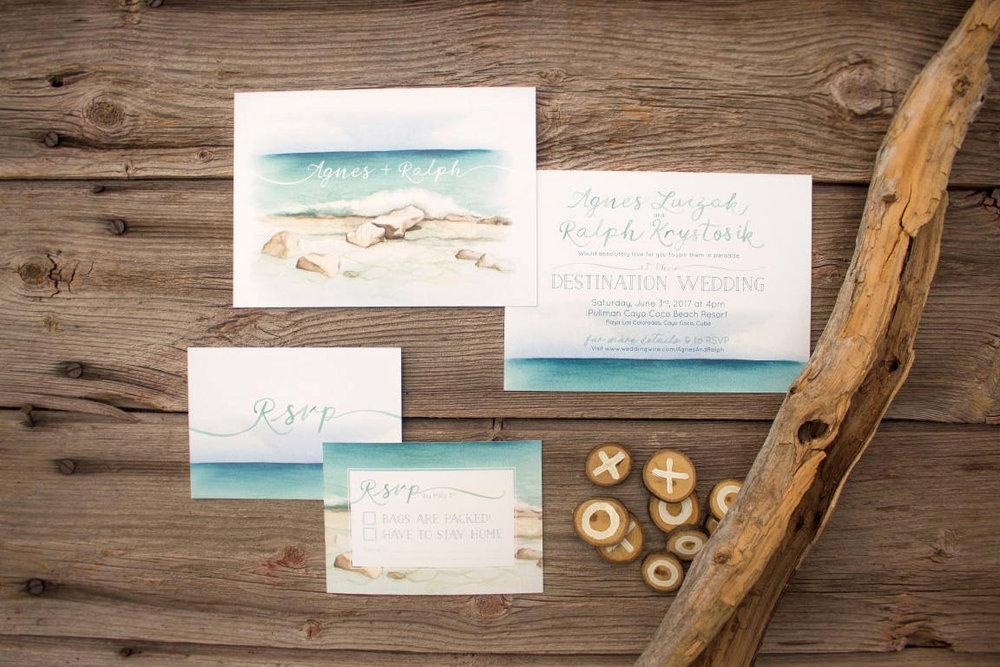 Tropical Beach Destination Wedding Invitations and Stationery by Alicia's Infinity - www.aliciasinfinity.com
