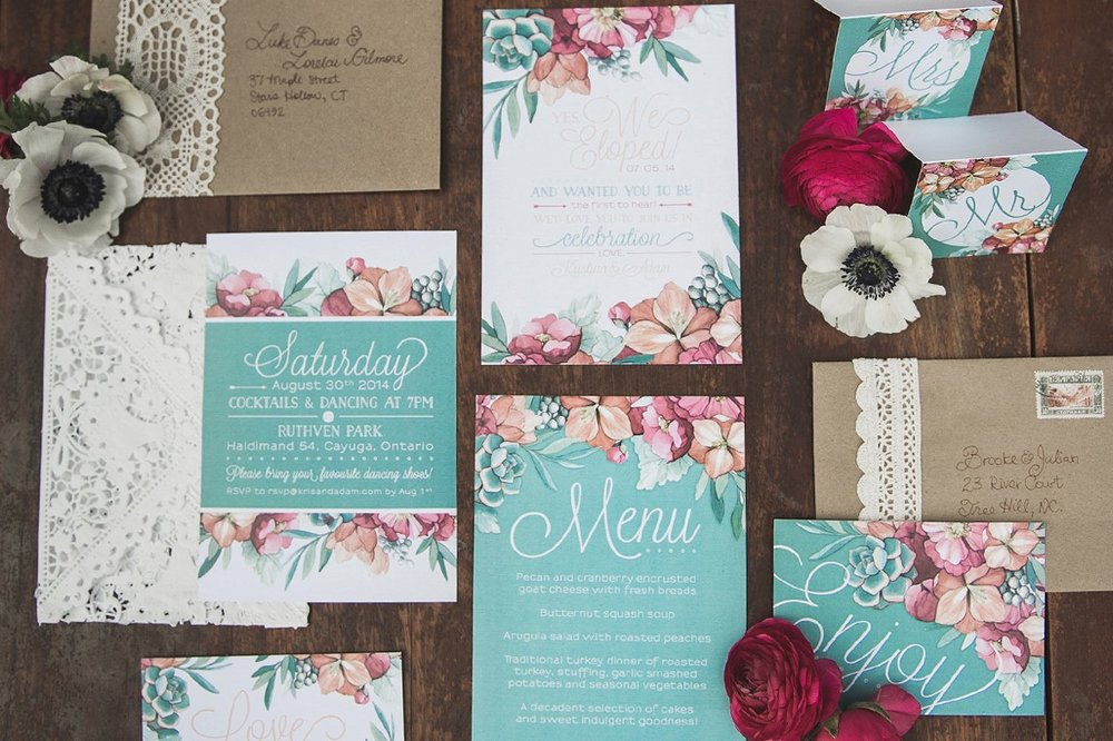 Peachy Coral Floral & Mint Succulent Floral Wedding Invitations and Stationery by Alicia's Infinity - www.aliciasinfinity.com