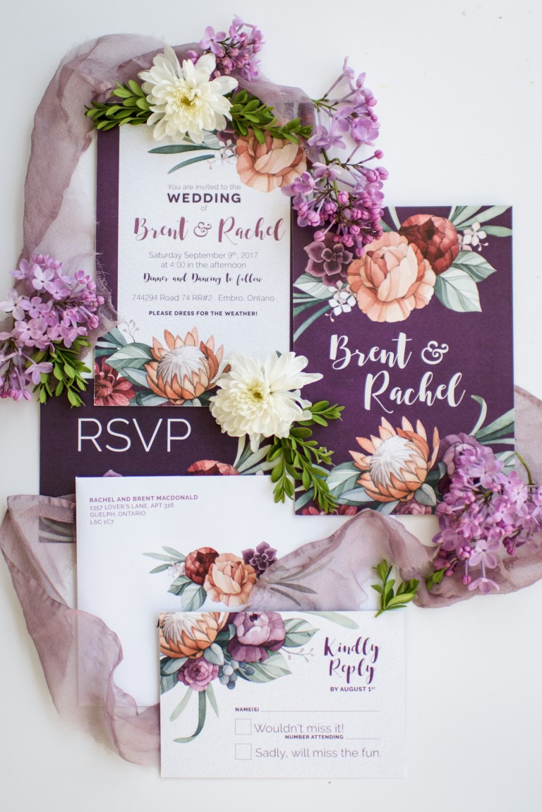 Protea, Peony and Succulent Watercolour Wedding Invitations and Stationery by Alicia's Infinity - www.aliciasinfinity.com