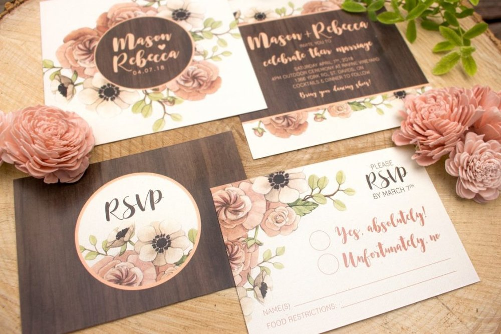 Rustic Barn Wedding Wood & Floral Watercolour Wedding Invitations and Stationery by Alicia's Infinity - www.aliciasinfinity.com