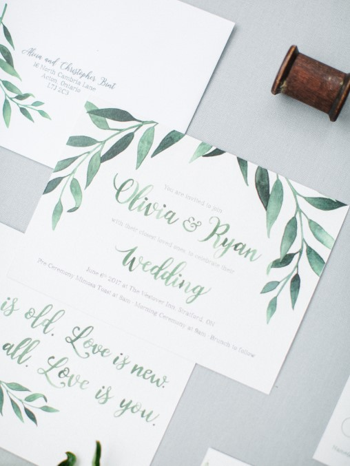 Simple and Elegant Greenery Garland Watercolour Wedding Invitations and Stationery by Alicia's Infinity - www.aliciasinfinity.com