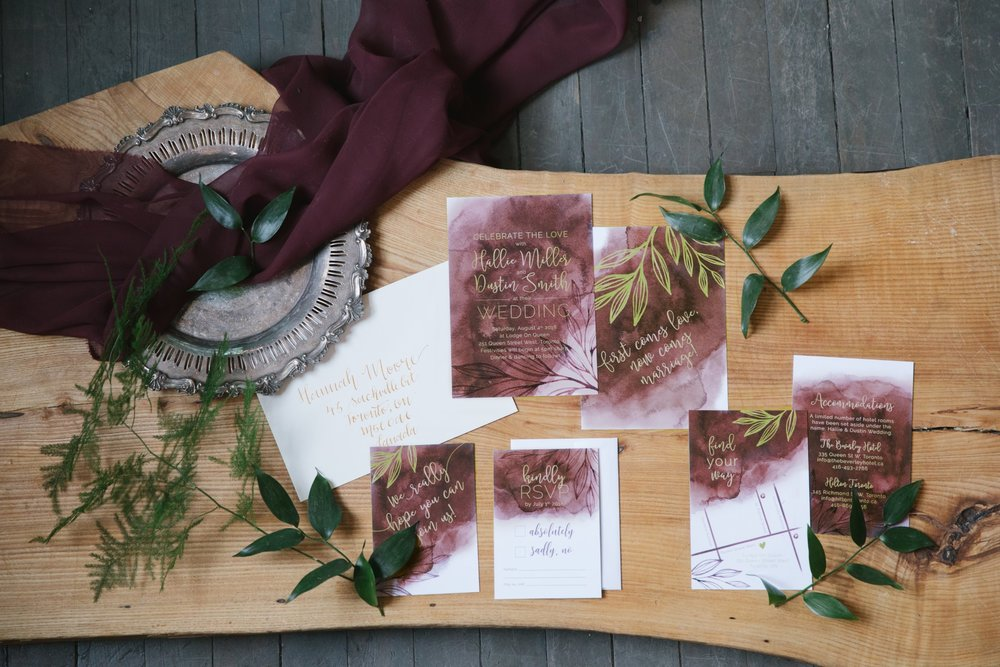 Watercolour Painted Wash with Leaves – Marsala Wedding Invitations and Stationery by Alicia's Infinity - www.aliciasinfinity.com