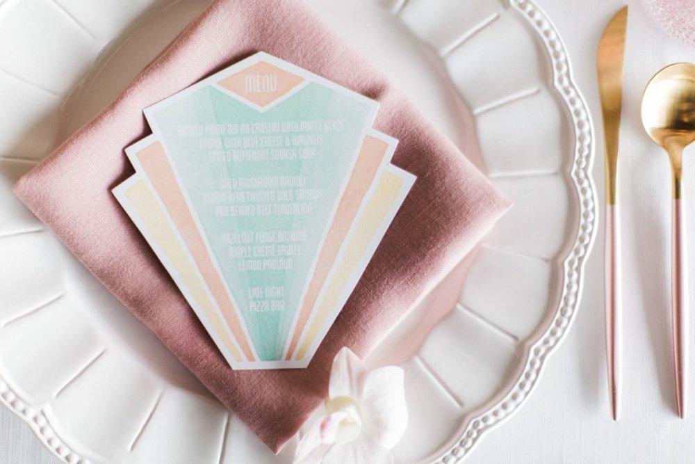 Art Deco Pastel Miami Watercolour Wedding Invitations and Stationery by Alicia's Infinity - www.aliciasinfinity.com