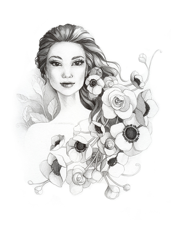 Lumineers Flowers in your Hair Graphite Illustration by Alicia's Infinity - www.aliciasinfinity.com