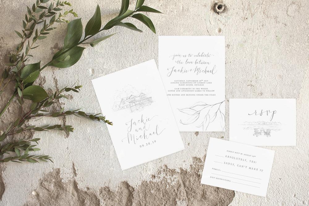 Custom Venue sketch With Leaves - Wedding Invitations by Alicia's Infinity - www.aliciasinfinity.com