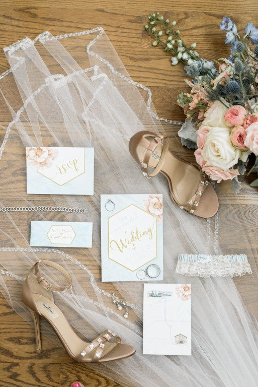 Gold Geometric and Botanical Floral Watercolour Wedding Invitations and Stationery by Alicia's Infinity - www.aliciasinfinity.com