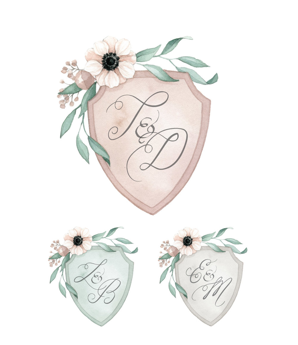 Floral Anemone Wedding Crest Monogram  Watercolour Illustration by Alicia's Infinity - www.aliciasinfinity.com