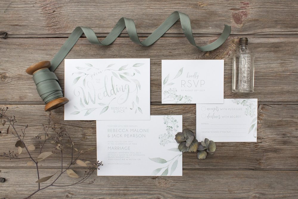 Monochromatic Watercolour Leaves and Typography Wedding Invitations