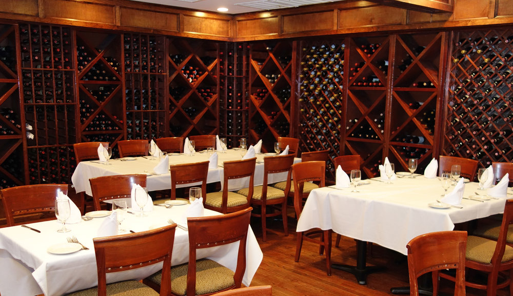 For a truly intimate dining experience, plan your next group event in our elegant wine cellar, complete with it's own fully stocked bar.