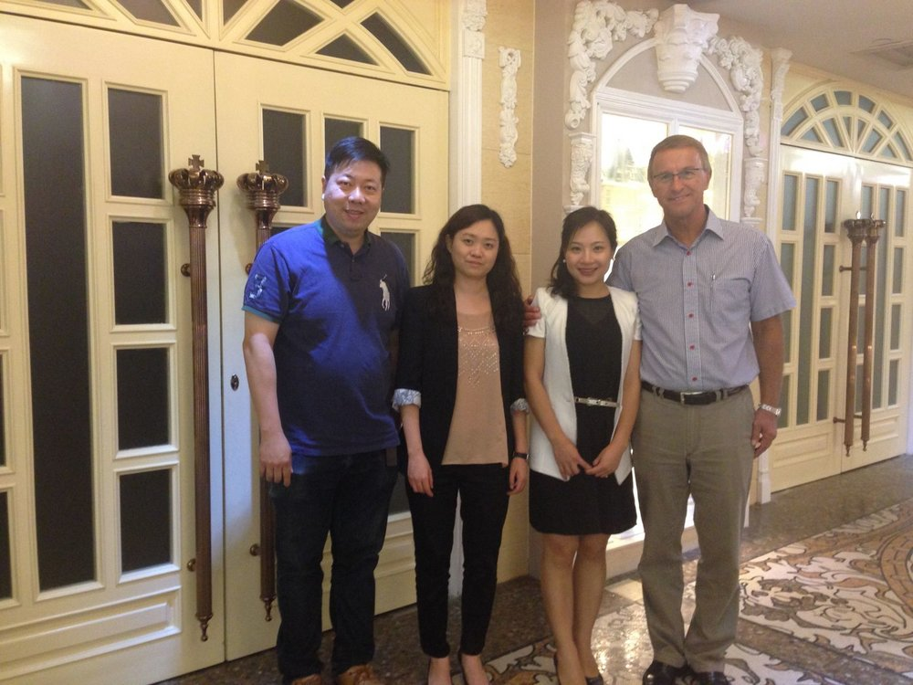 (Left)  Ray  - TYLO Hong Kong Representative, (Middle Right)  Vivian Chen  - Executive Director of KS Aqua, (Right)  Mr. Krister Persson  - CEO of TYLO.