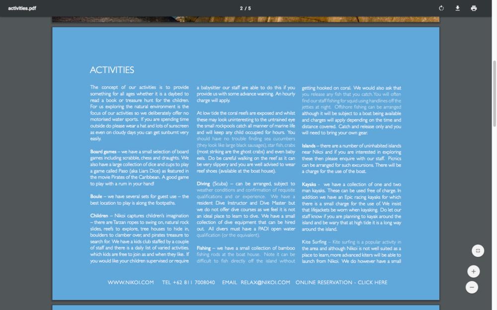 Downloadable PDF - Full list of activities