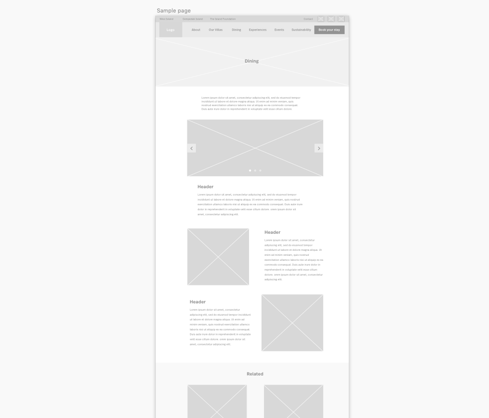 Wireframe for standard information page
