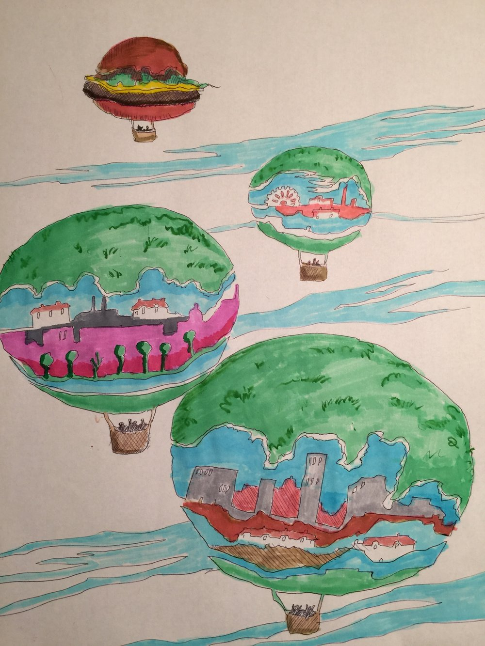 Balloons pursued by hamburger (coloured)