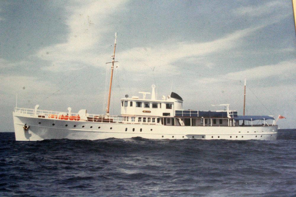 Motor Yacht BRAEMAR - cruising off Montserrat, 1981