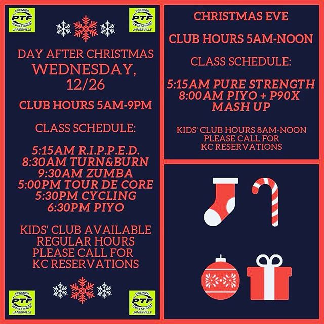 Our Christmas Eve and day after Christmas special schedule! Yes, we are open on Christmas Eve from 5am-noon and we open again the day after Christmas bright and early at 5am!  Check out the class schedule😀