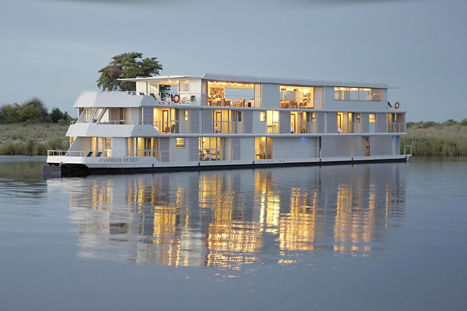 The Magic of Africa - Moving along the banks of the great Chobe River that separates Namibia from Botswana, Zambezi Queen is a 5-star, 42-metre long floating hotel offering unparalleled sophistication in one of the most remote locations on the planet.