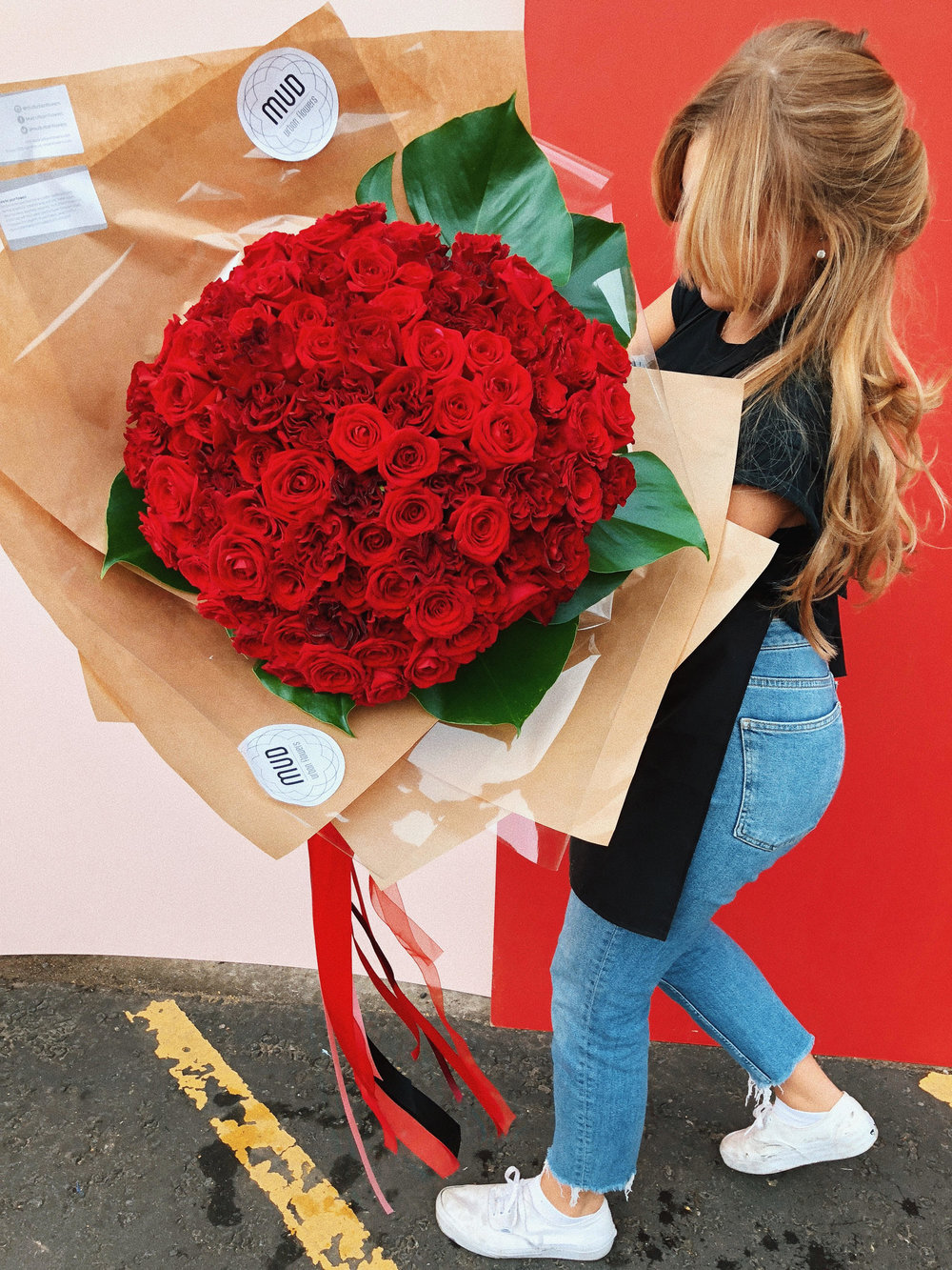 Q: Have you had a favourite bouquet? - A: I love working Scottish cut flowers, but in terms of memorable bouquet the 100 red rose bouquet I made earlier the year was a milestone for me.