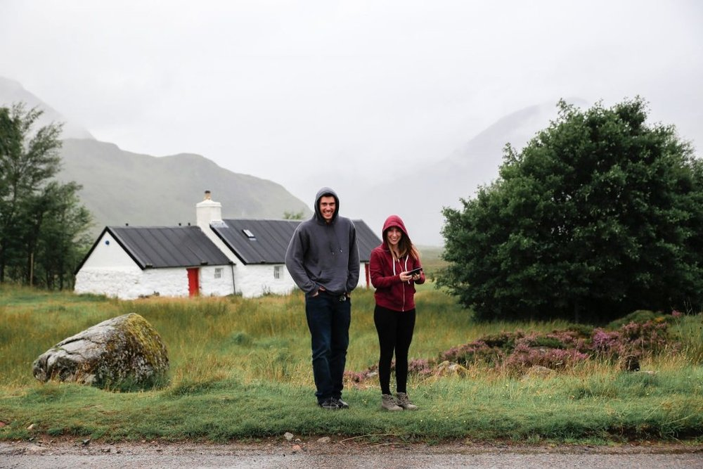 Eirinn and Joe embracing the Scottish Weather