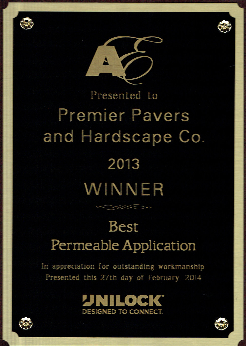 Eastern Massachusetts landscaping company with Unilock award for best permeable application.