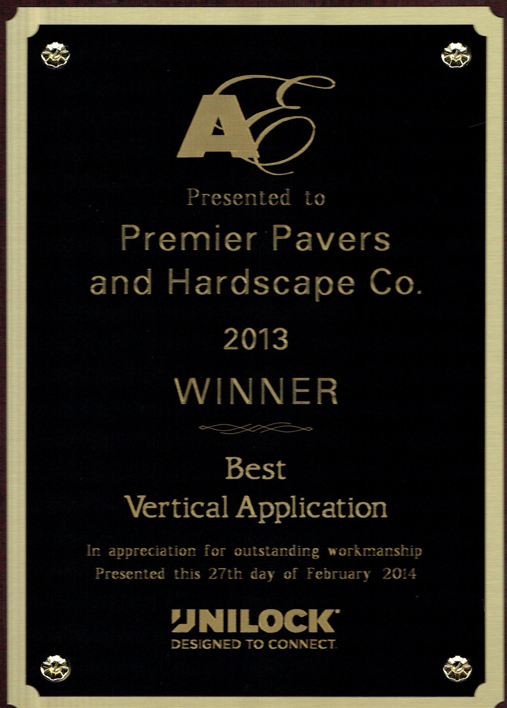 Lincoln MA landscaping company with Unilock award for best vertical application.