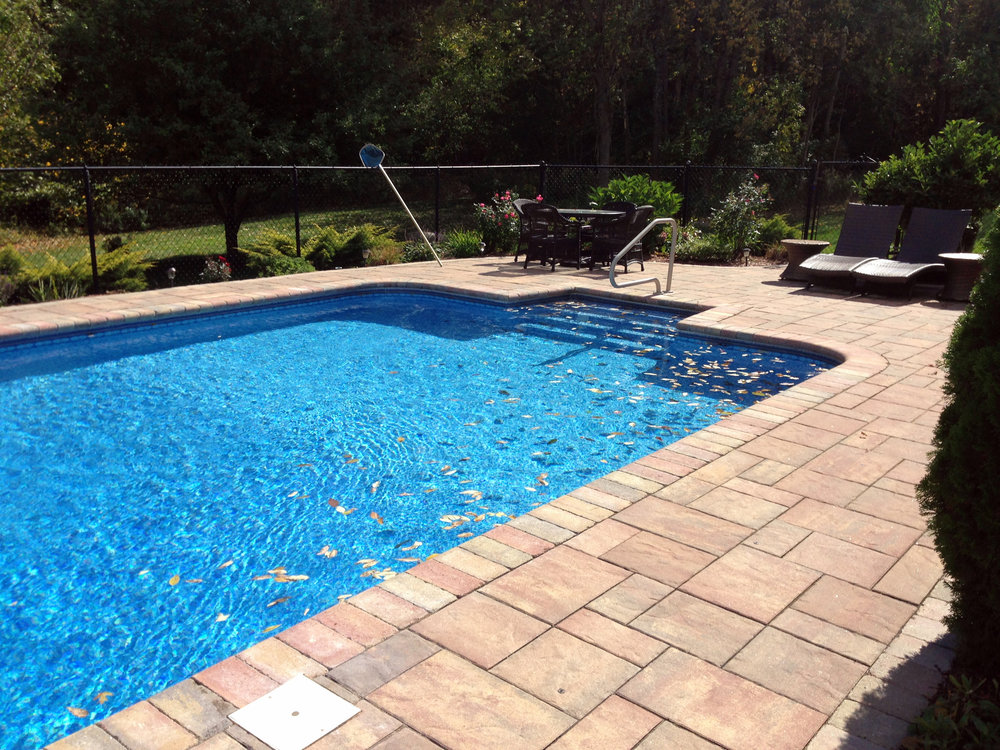 Landscape design, patio pavers and pool deck in Arlington, MA