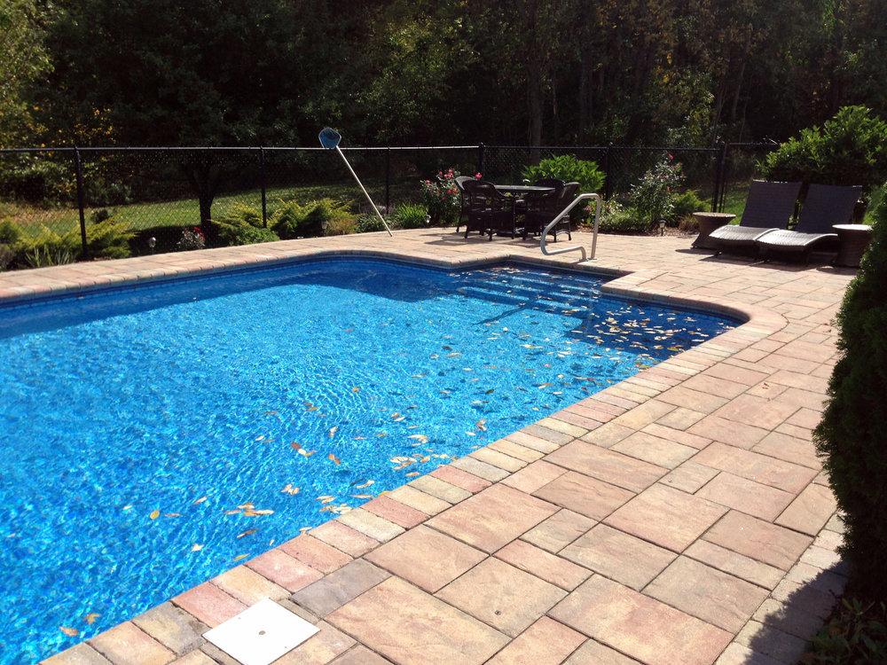 Landscape design for pool decks in Lincoln MA