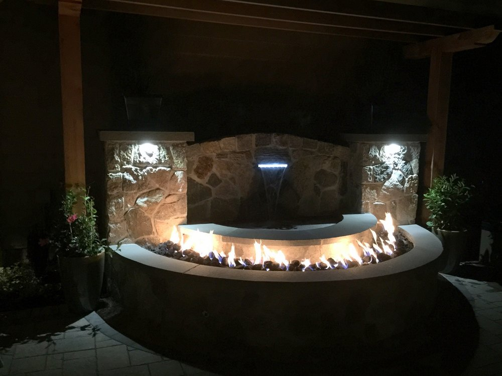 Patio pavers and outdoor lighting in Brookline, MA