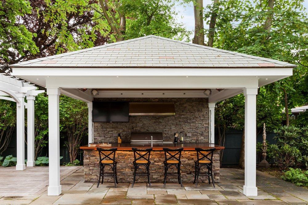 Bluestone patio with outdoor lighting in Cambridge, MA