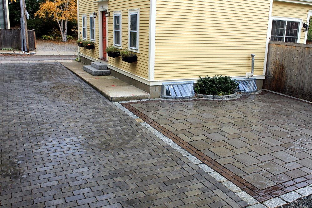 Classic landscape design with driveway pavers in Wellesley, MA