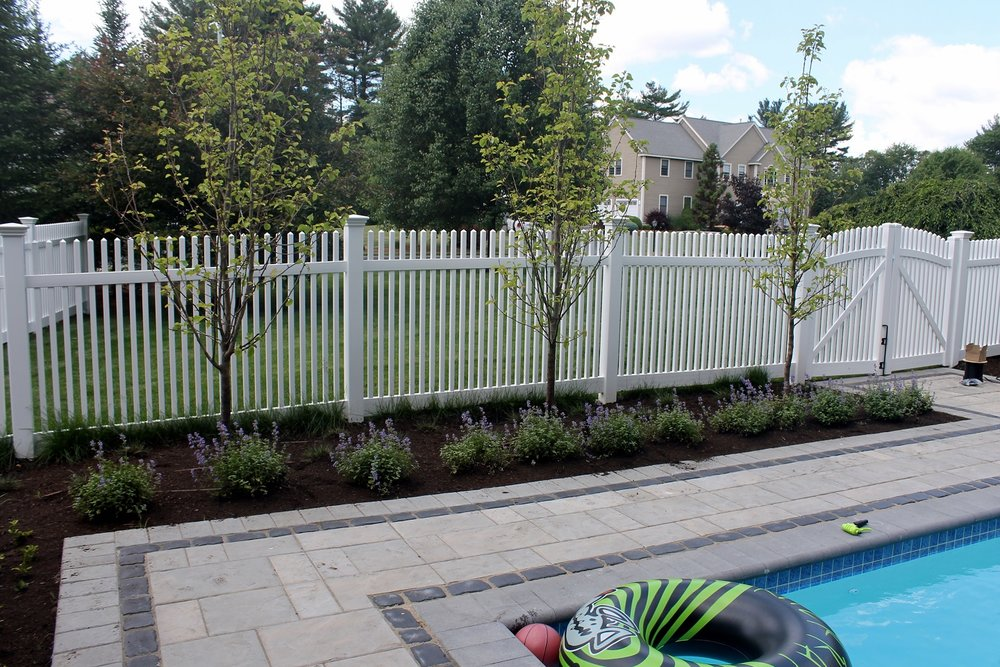 Pool deck, walkway pavers and fencing in Newton, MA