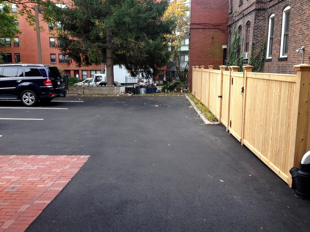 Landscape design with fencing in Arlington, MA