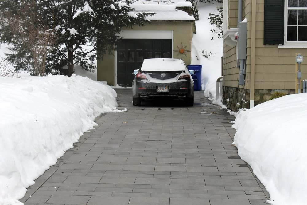 Snowmelt system with top quality driveway pavers in Brookline, MA