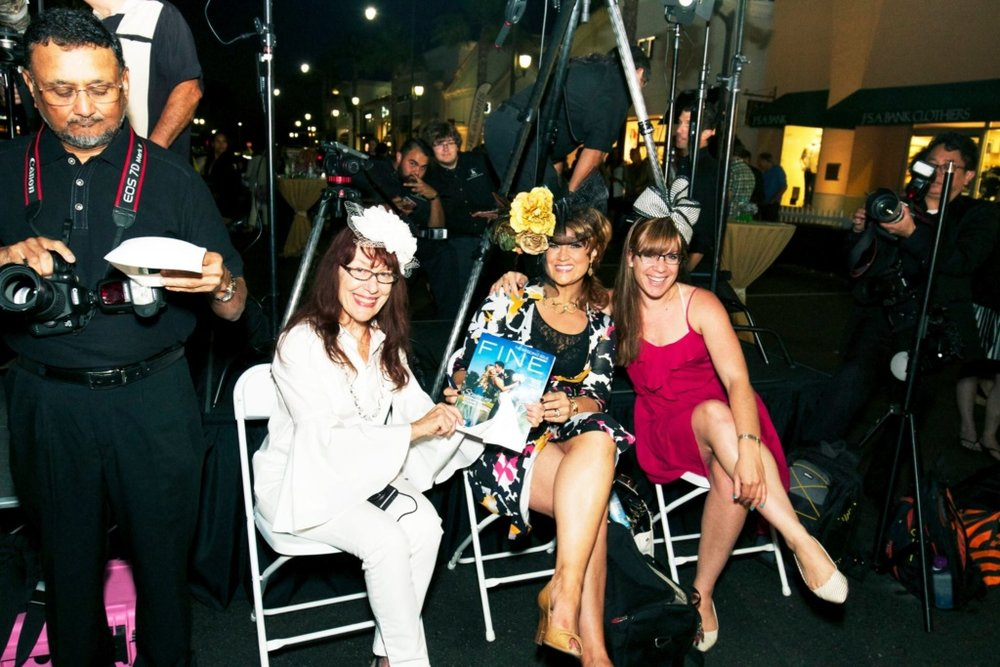 Dianne, myself and Aimee judging FINE magazines couture hat coipition at The Forum, Carlsbad.
