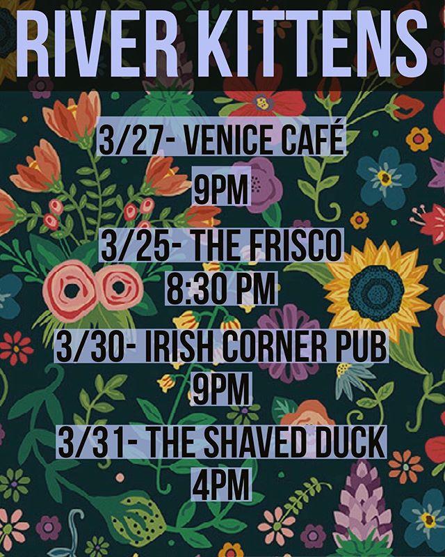 Calling all spring chickens! We got shows to play! @venicecafestl @theshavedduck @thefriscostl @pubirishcorner  #riverkittens #allievogler #mattieschell  #stlisamusictown #showdates #livemusic #stlmusic