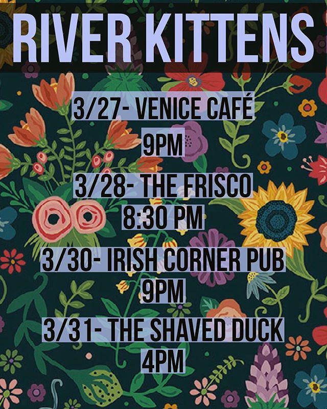 Calling all spring chickens!! We got shows to play!! @venicecafestl @thefriscostl @pubirishcorner @theshavedduck  #riverkittens #allievogler #mattieschell  #stlmusic #livemusic #showdates #upcomingshows